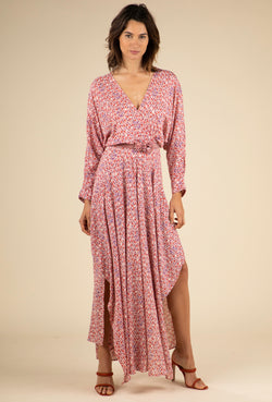Poupette St Barth - Long Dress Ilona Flounce - Pink Bell