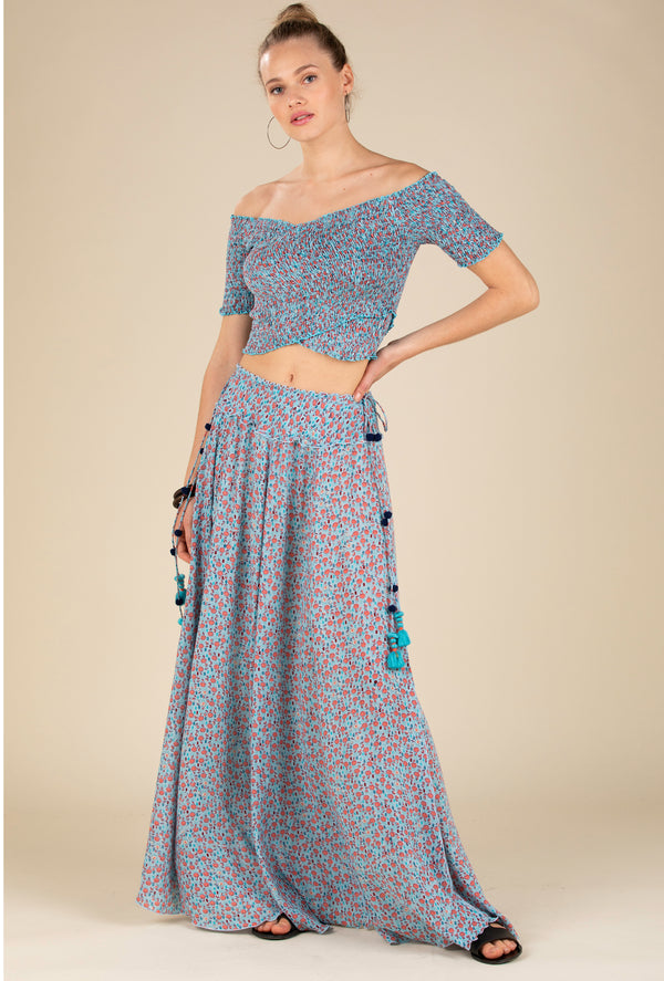 Poupette St Barth - Long Skirt Jena Panelled - Blue Bell