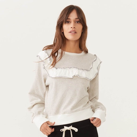 MONROW - PINSTRIPE RUFFLE TOP - NATURAL