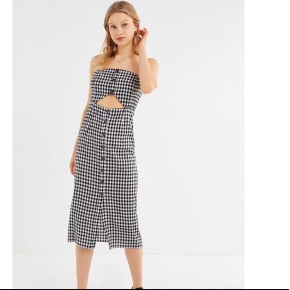 Le Rumi - Violet Midi Dress - Black/natural gingham