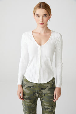 Monrow - Long Sleeve V Neck Henley - Ivory