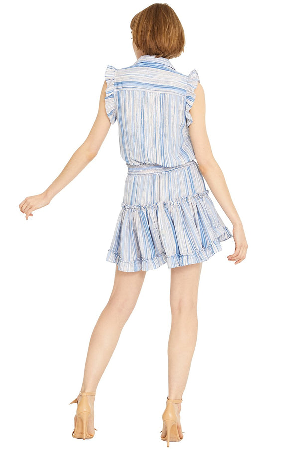 Misa - Carlota Dress - Blue Abstract Stripe