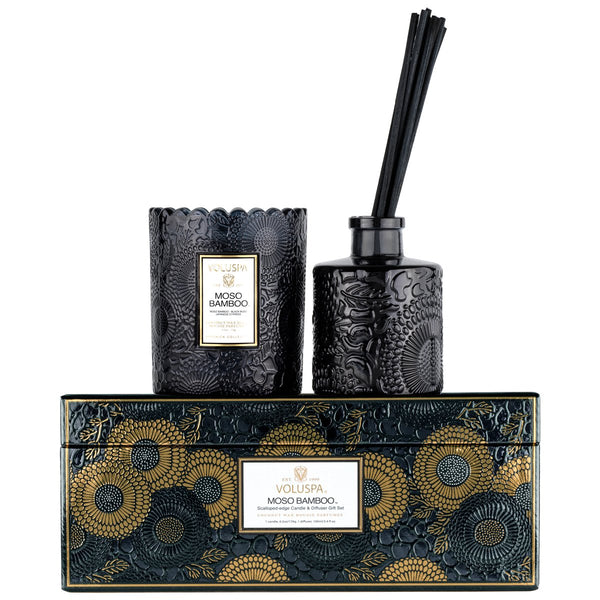 Voluspa - Moso Scalloped Edge Candle and Diffuser Gift Set