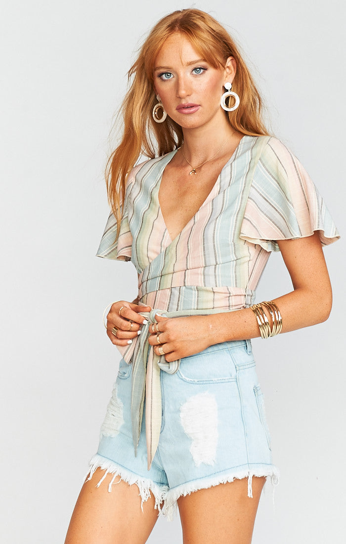 Show Me Your Mumu - Wilson Tie Top - Nevada Stripe Flux