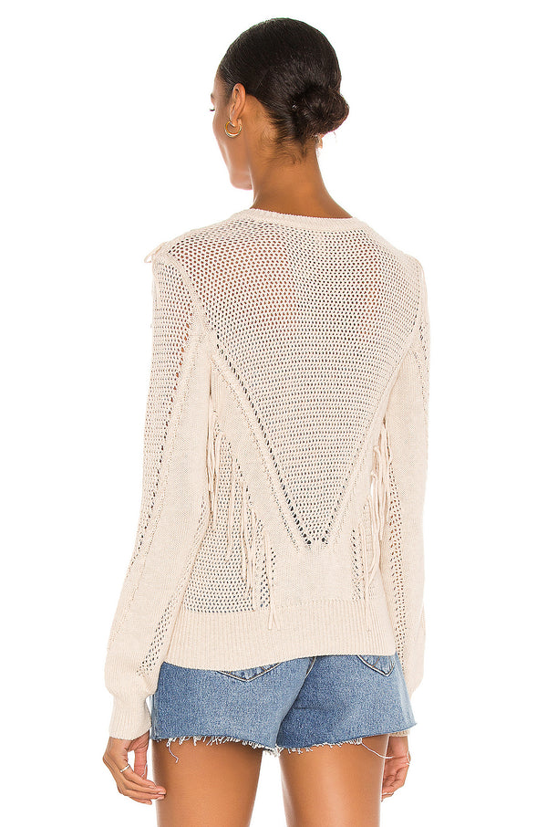 Autumn Cashmere - Cable Mesh Fringe Crew - Natural