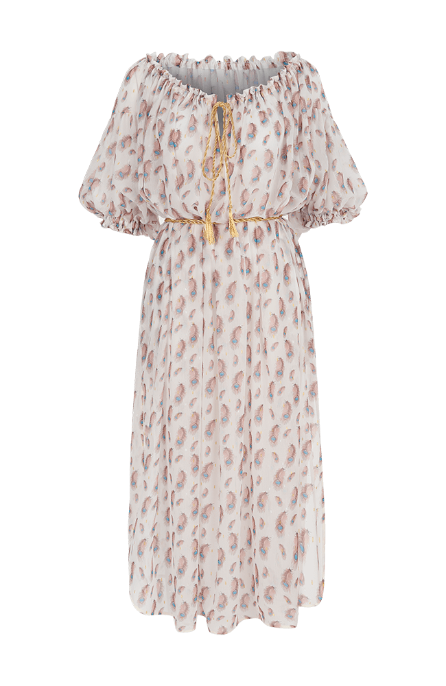 My Beachy Side - Nightingale Off-Shoulder Dress - Peacock White