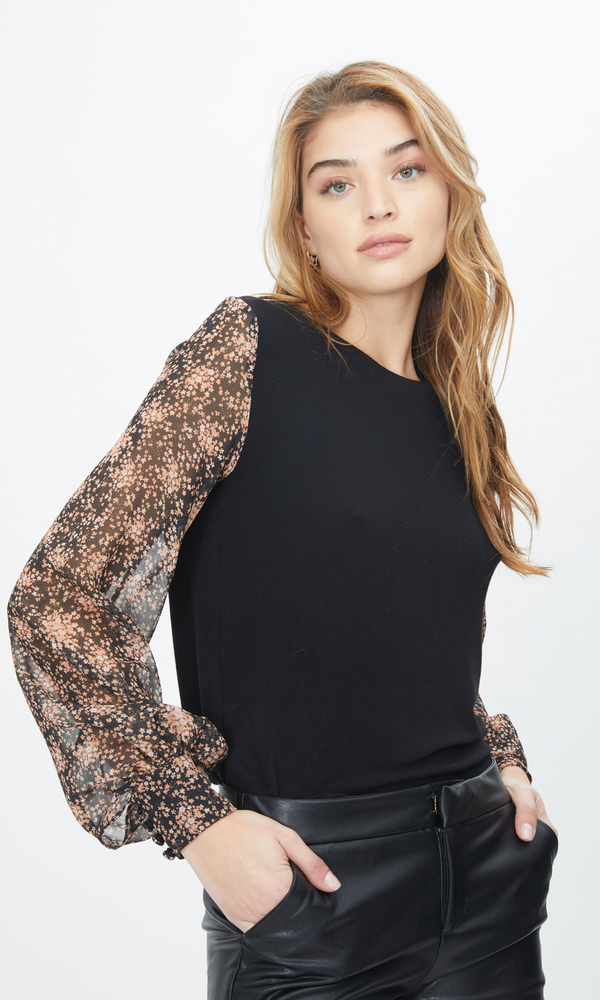 Generation Love - Noelle Top - Black/Ditsy Bouquet