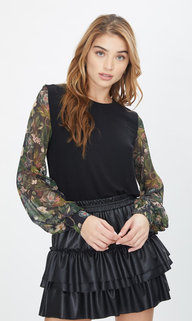 Generation Love - Noelle Top - Black/Floral Jungle