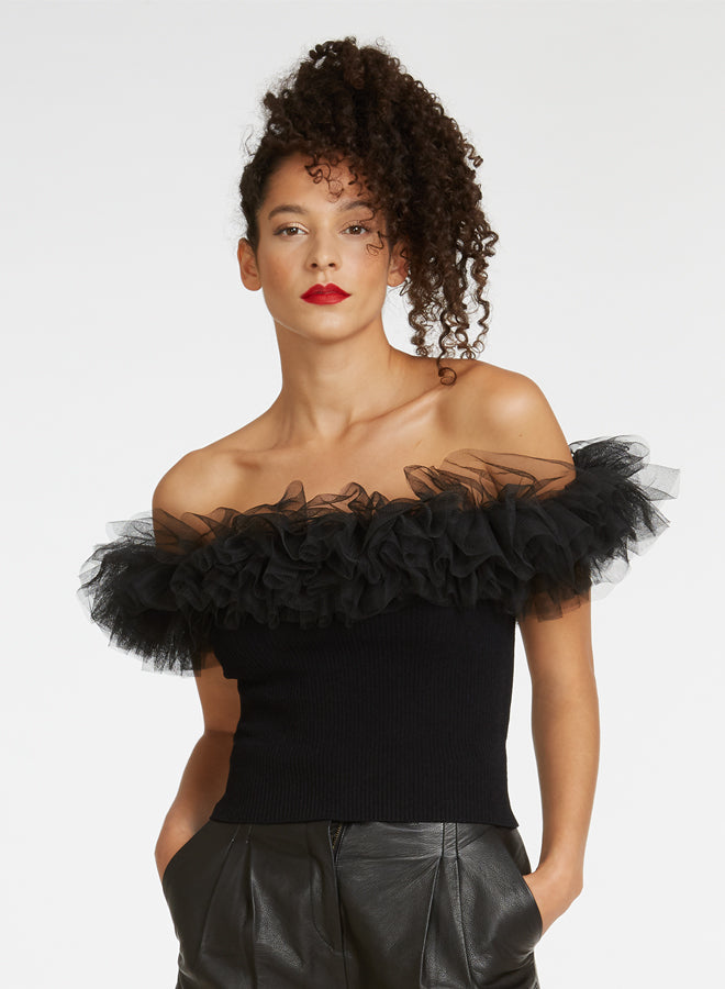 Autumn Cashmere - Off the shoulder tulle top - Black/Black