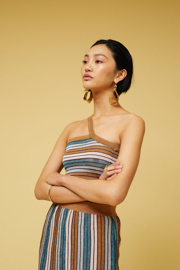 Suboo - Lolita One Shoulder Top - Metallic Stripe