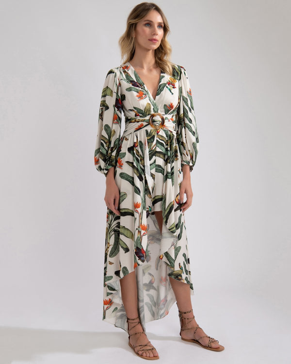 Patbo - Tropical Print High Low Romper - Off White