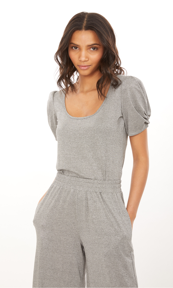 Generation Love - Petra Lurex Top - Grey/Silver