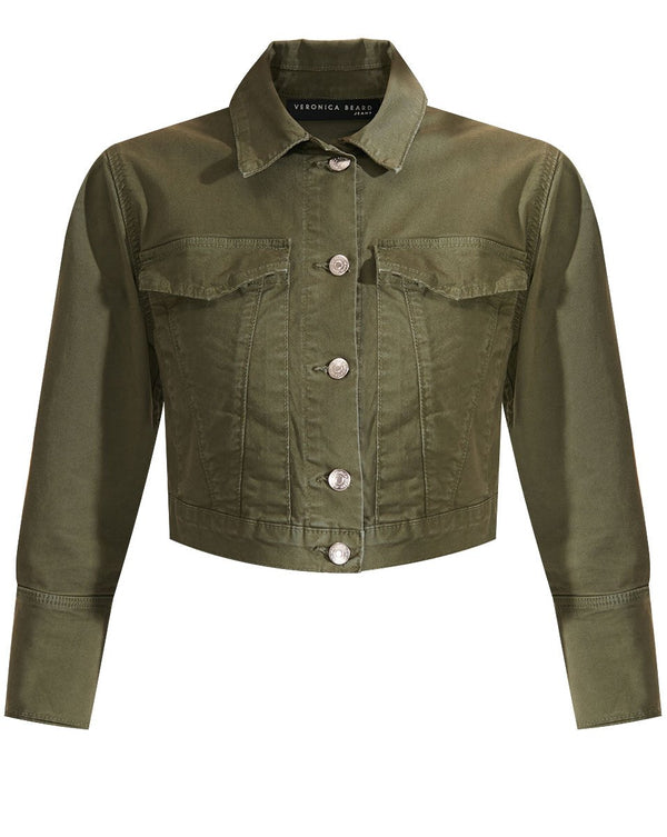 Veronica Beard - Denim Pouf Sleeve Jacket - Army Green