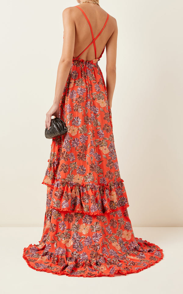 Alexis - Primrose Gown - Embellished Coral