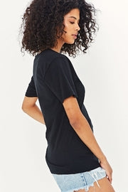 PROJECT T SOCIAL - THE SOFTEST V - NECK TOP - BLACK