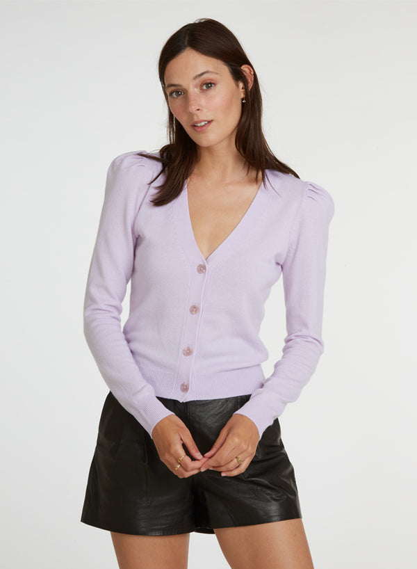 Autumn Cashmere - Puff Sleeve V Neck Cardigan - Aster