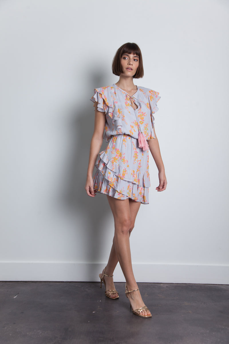 Karina Grimaldi - Rafa Print Mini Dress - Light Water Floral