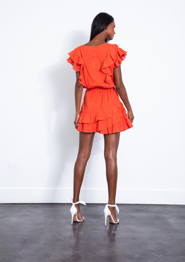 Karina Grimaldi - Raffa Metallic Mini Dress - Tangerine