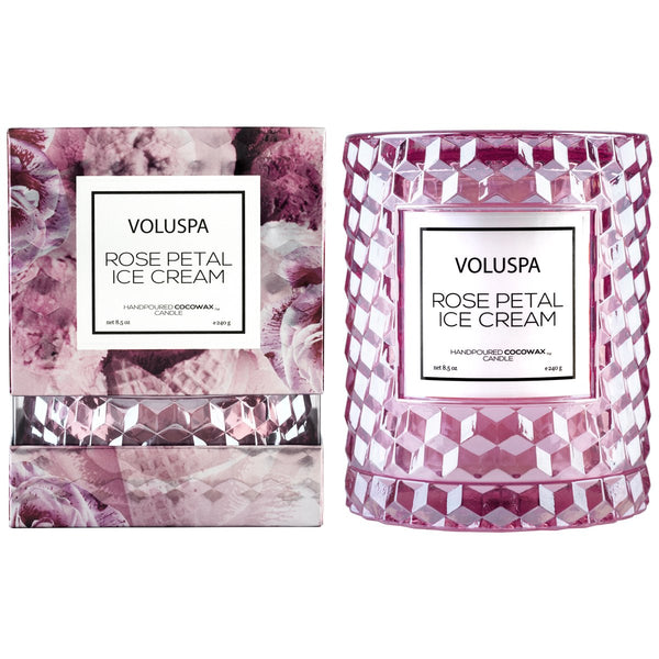 Voluspa - Rose Petal Ice Cream Icon Candle with Cloche Cover