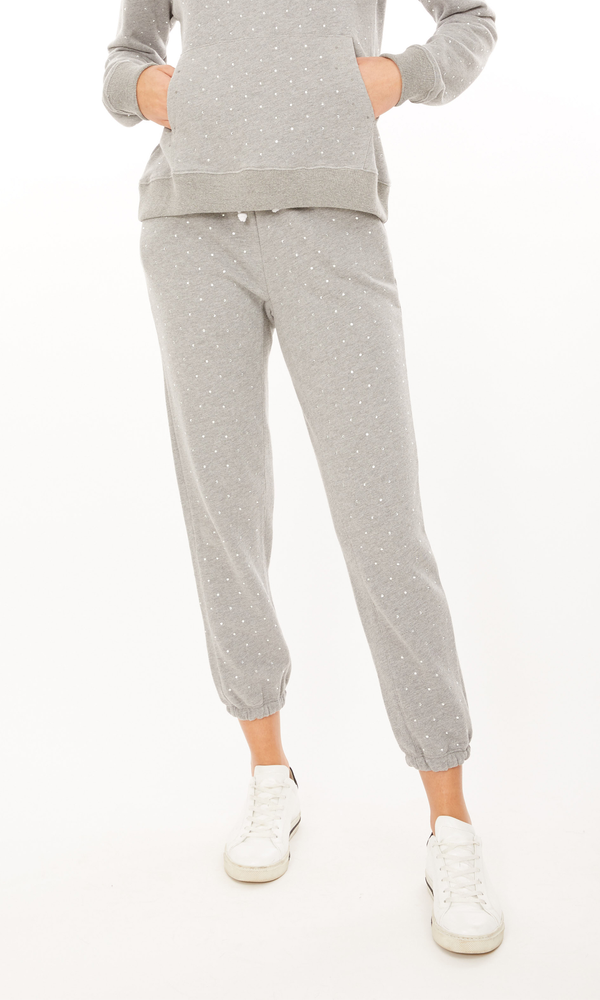 Generation Love - Rowe Crystal Sweatpant - Heather Grey/Clear