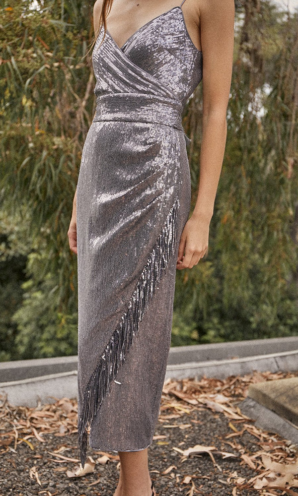 Saylor - Azariah Fringe Sequin Sleeveless Dress - Gunmetal