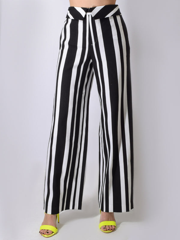Alice & Olivia - Geo High Waisted Foldover Pant -  Umbrella Stripe Black White
