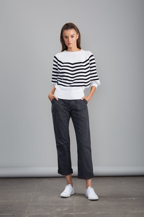 Sundays - Bailey Sweater - Black/White Stripe