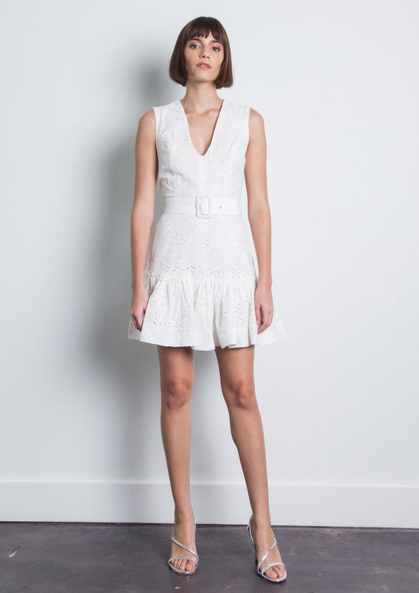 Karina Grimaldi - Susi Eyelet Mini Dress - White