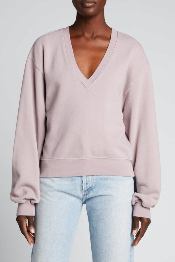 Agolde - V Neck Balloon Sleeve Sweatshirt - Taro