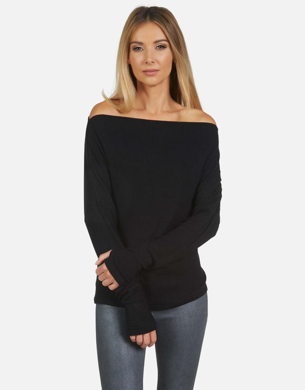 Michael Lauren - Santos Drop Shoulder Boat Neck Pullover - Black