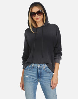 michael lauren -Gower Cropped Hoodie - Ombre black