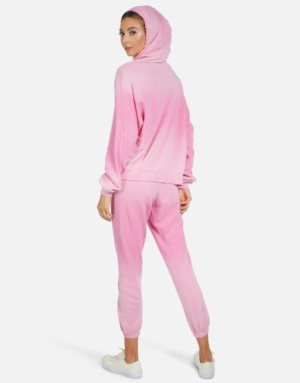 michael lauren - Gower Crop hoodie- Party pink ombre