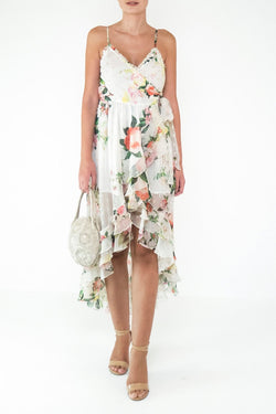 Rococo Sand - Lenora Long Dress - White Floral