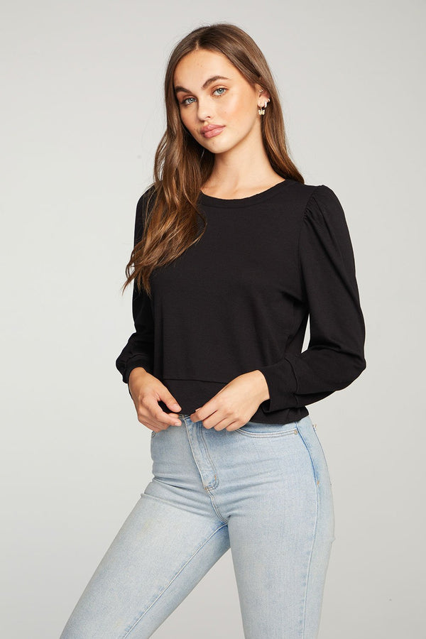 Chaser - Vintage Rib Puff Sleeve Cropped Cuff Tee - Union Black
