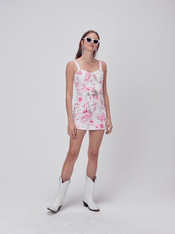 For Love & Lemons - Weston Denim Mini Dress - Pink Floral