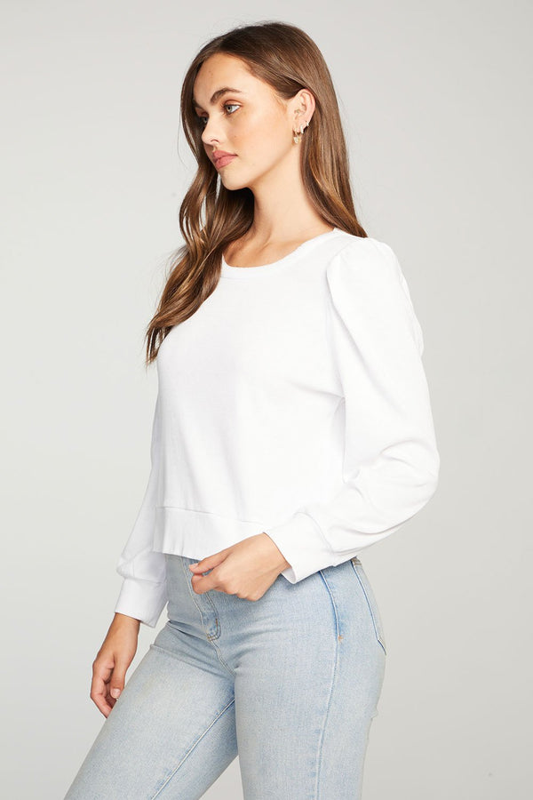 Chaser - Vintage Rib Puff Sleeve Cropped Cuff Tee - White
