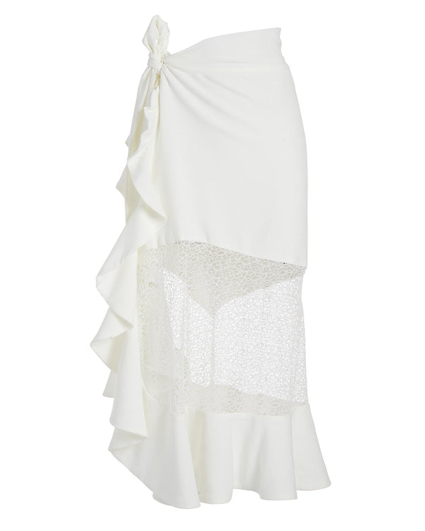 Patbo - Linen Midi Wrap Skirt - White