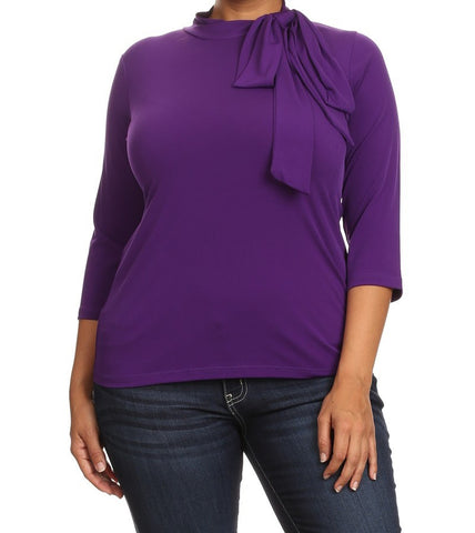 Solid Mock Neck Top w/Tie (Plus Size) SOLD OUT!
