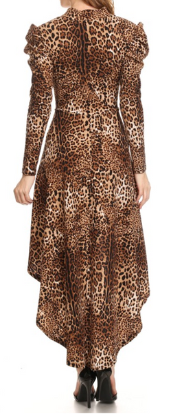 Animal Print Ruched Sleeve Dress