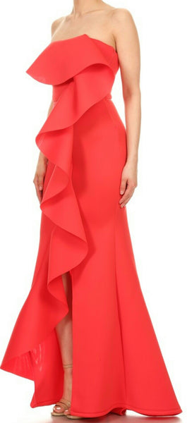 Solid Ruffle Flex Gown- 2 LEFT!