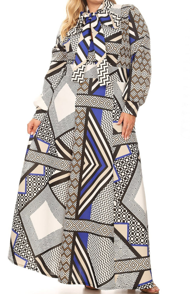 Multi-colored Abstract Maxi Dress (L-3XL)