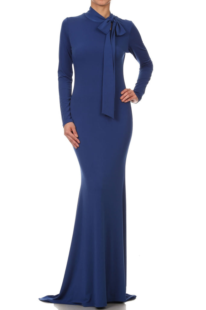 Royal Mockneck Tie Bodycon Dress (other colors available)