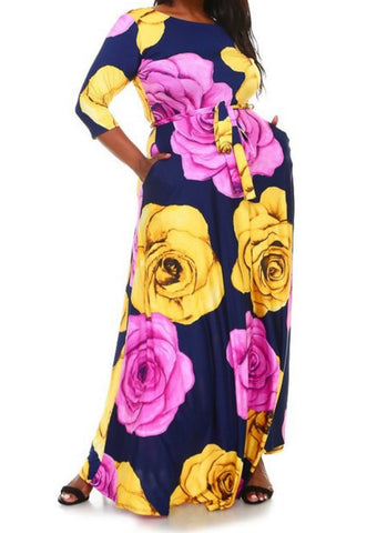 Navy Floral Maxi Dress (L-3XL)