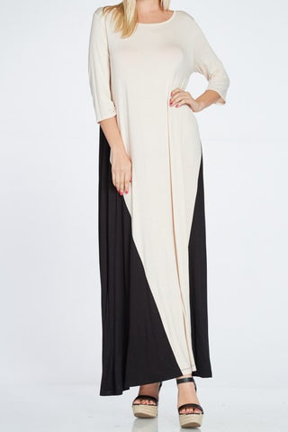 3/4 Color Block Maxi Dress Dress (S-XL)