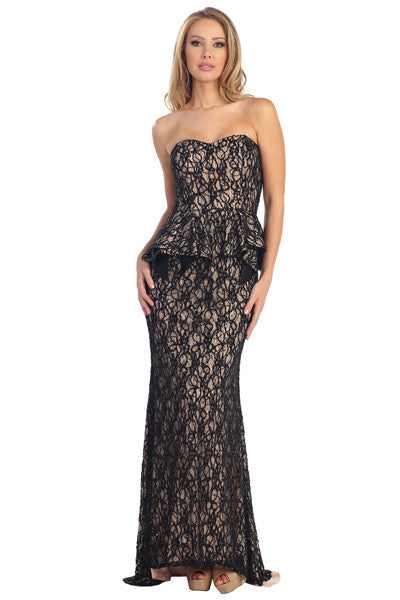 Lace peplum gown