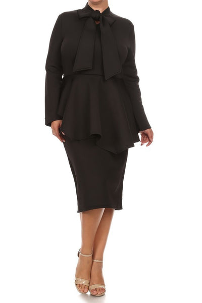 Plus Size Mock Tie Peplum Dress (2 LEFT)