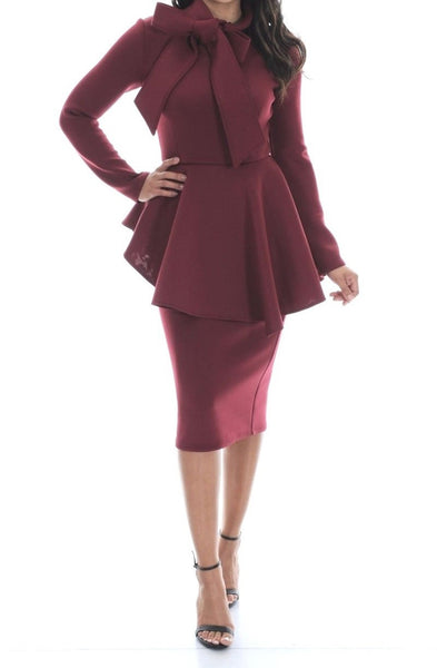 Mock Tie Peplum Dress (SMALL ONLY)
