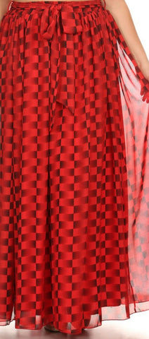 Red Checkered Maxi Skirt