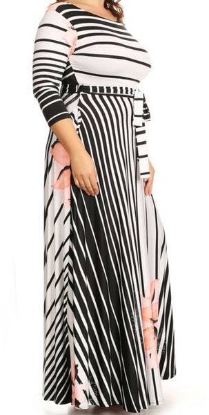 Stripe-Floral Maxi Dress (L-3XL available in other colors)