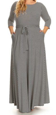 Checkered Maxi Dress (L-3XL)